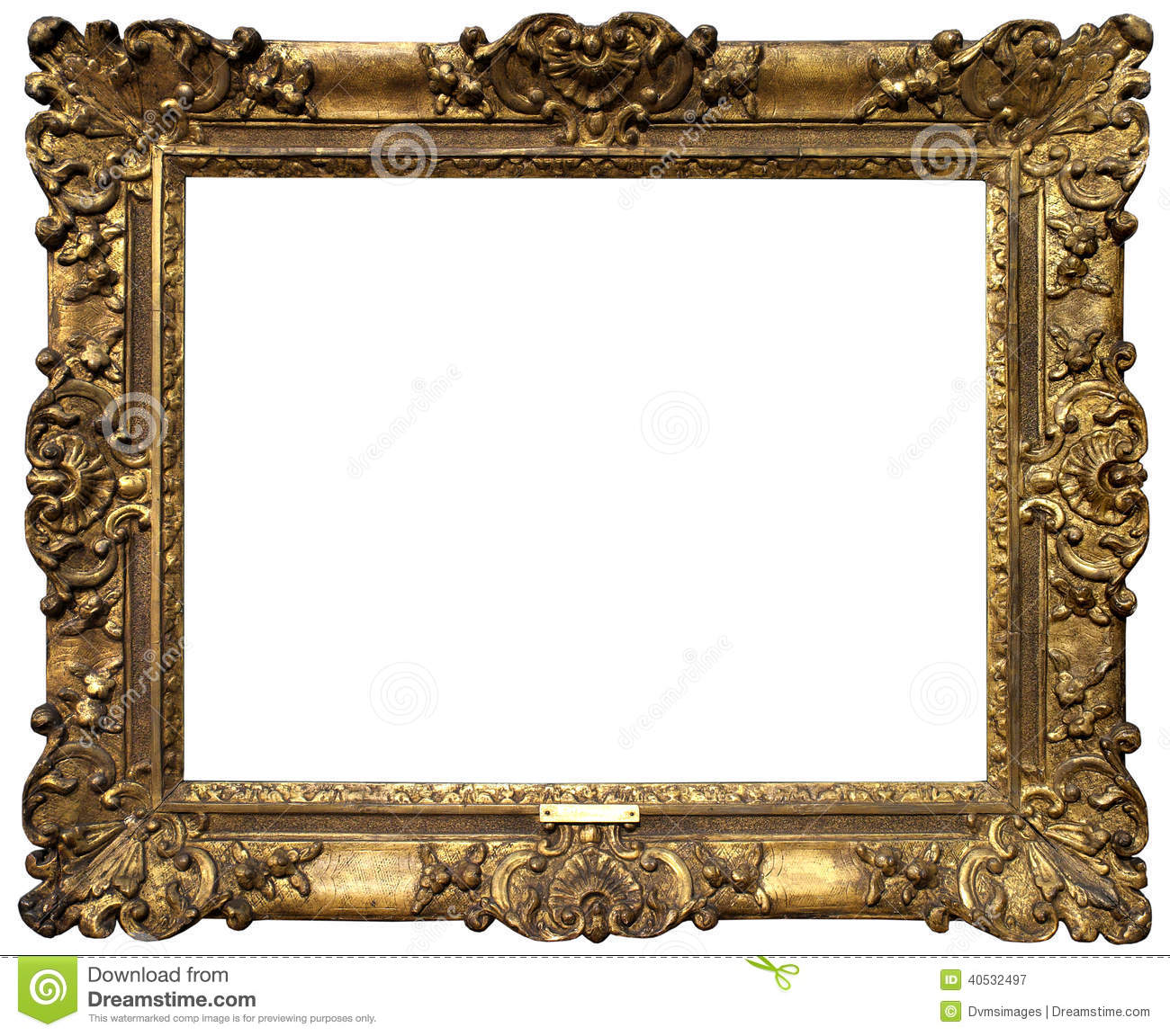 Gold antique baroque frame isolated on white background.