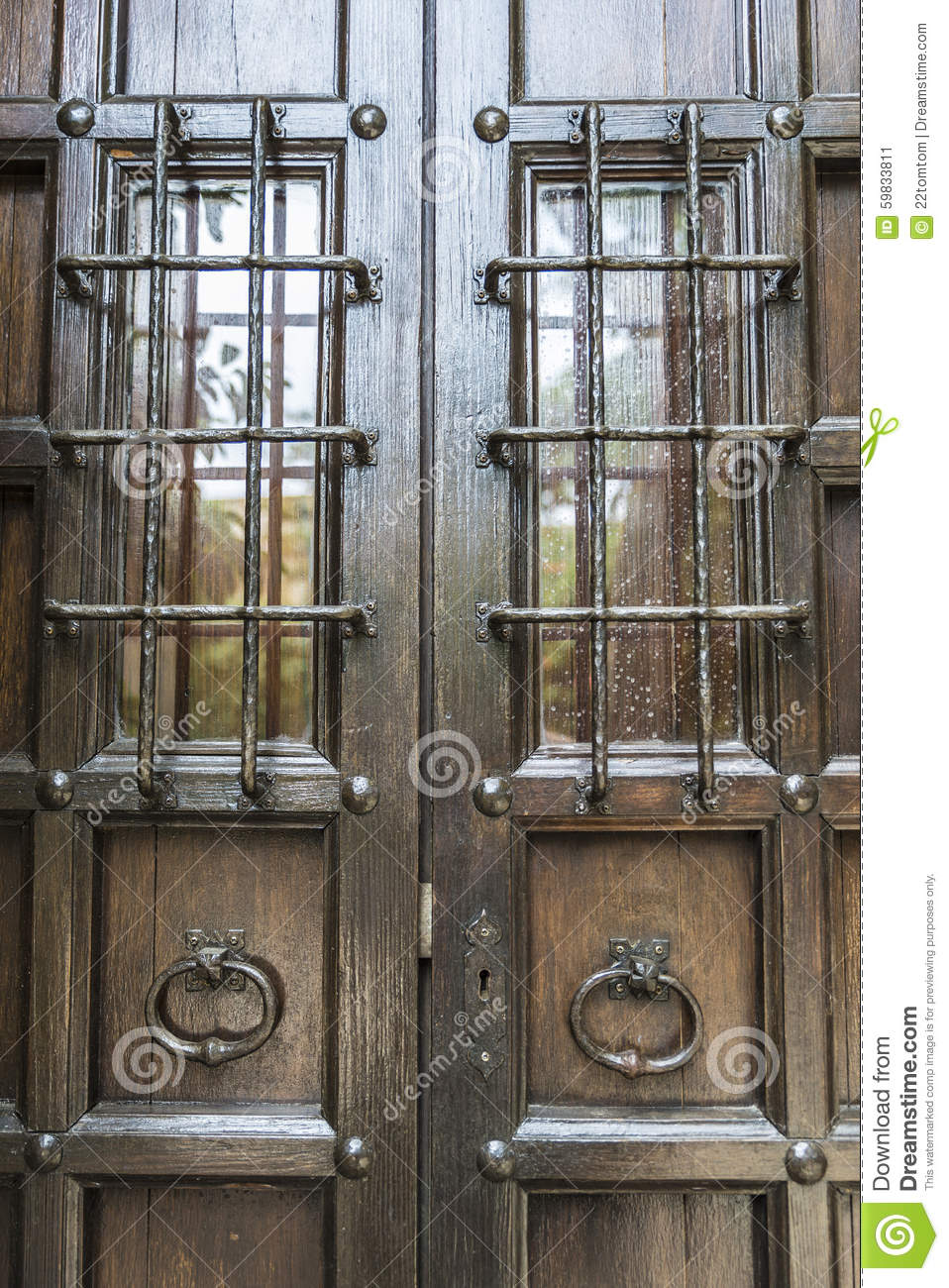 Old barred door stock image. Image of doorway, iron, home ...