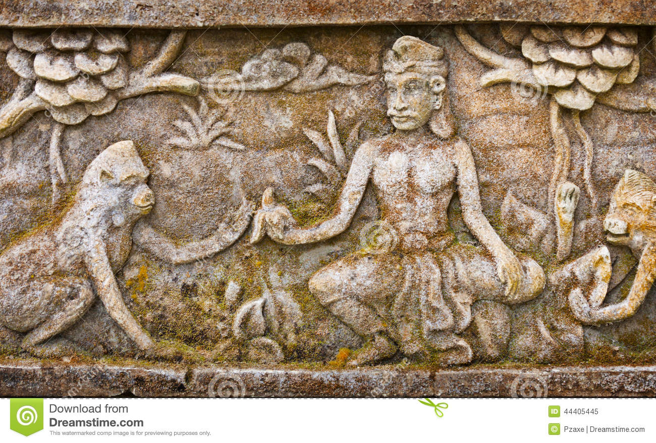 Old bas relief on the wall of temple indonesia bali