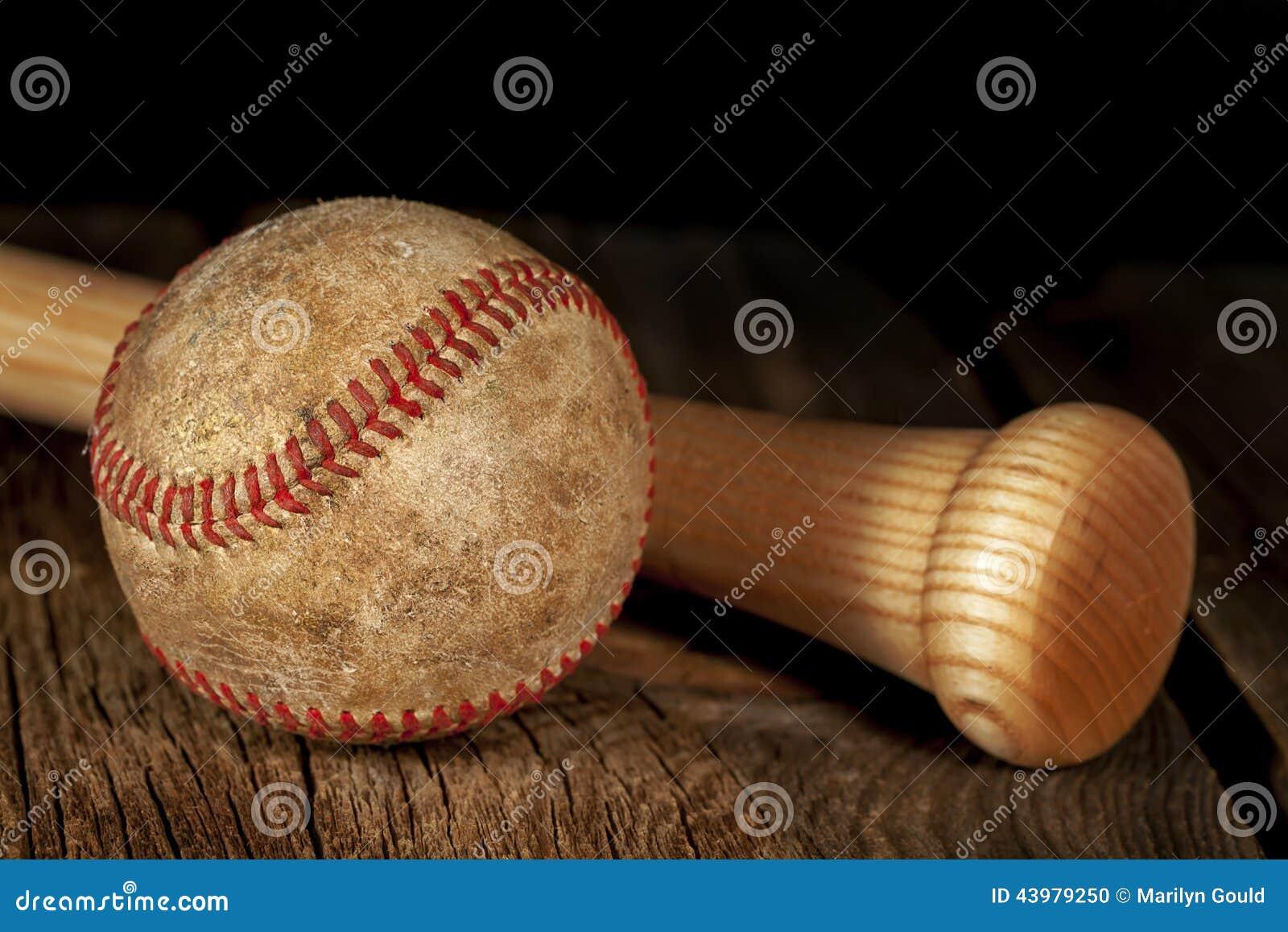 Old baseball and Bat