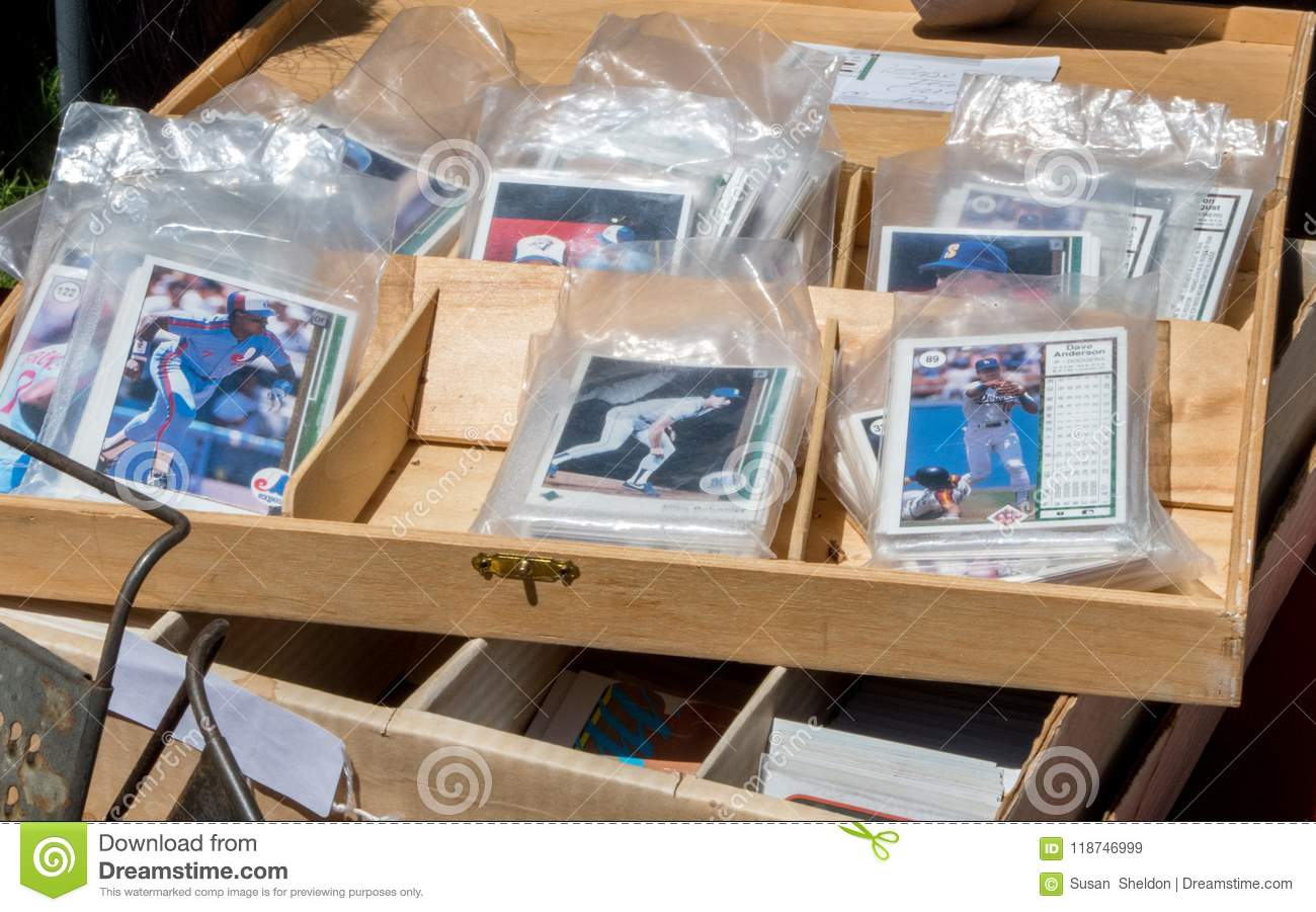 Old Baseball Cards In Plastic Bags Editorial Stock Image Image Of