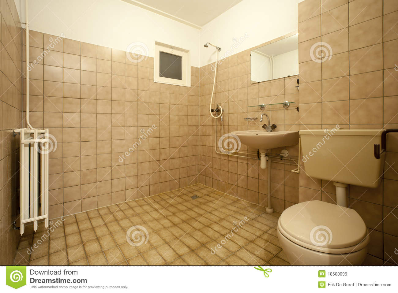 old bathroom stock photo image of brown empty wall. Black Bedroom Furniture Sets. Home Design Ideas