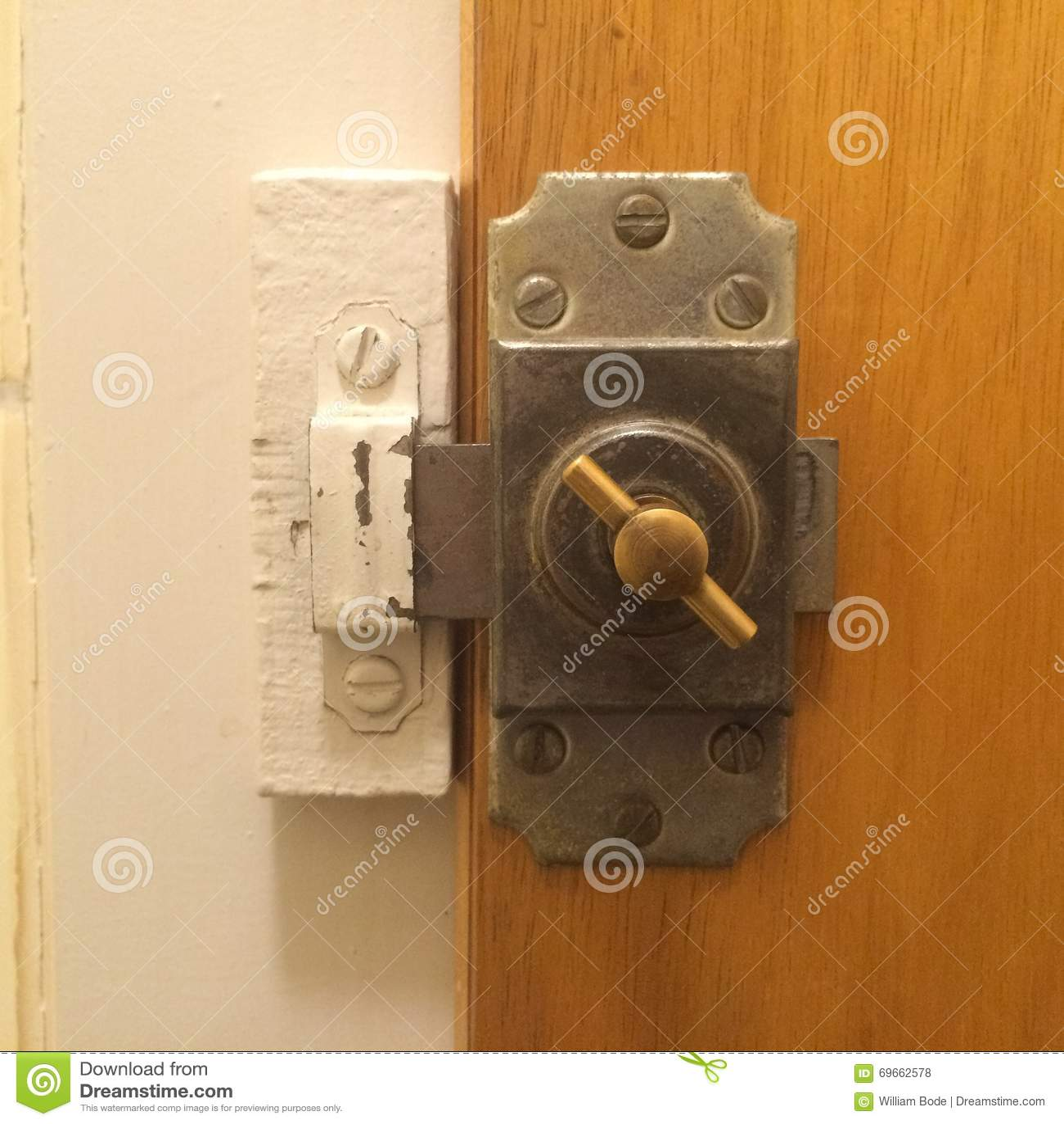 Old Bathroom Door Lock stock photo  Image of mini, made