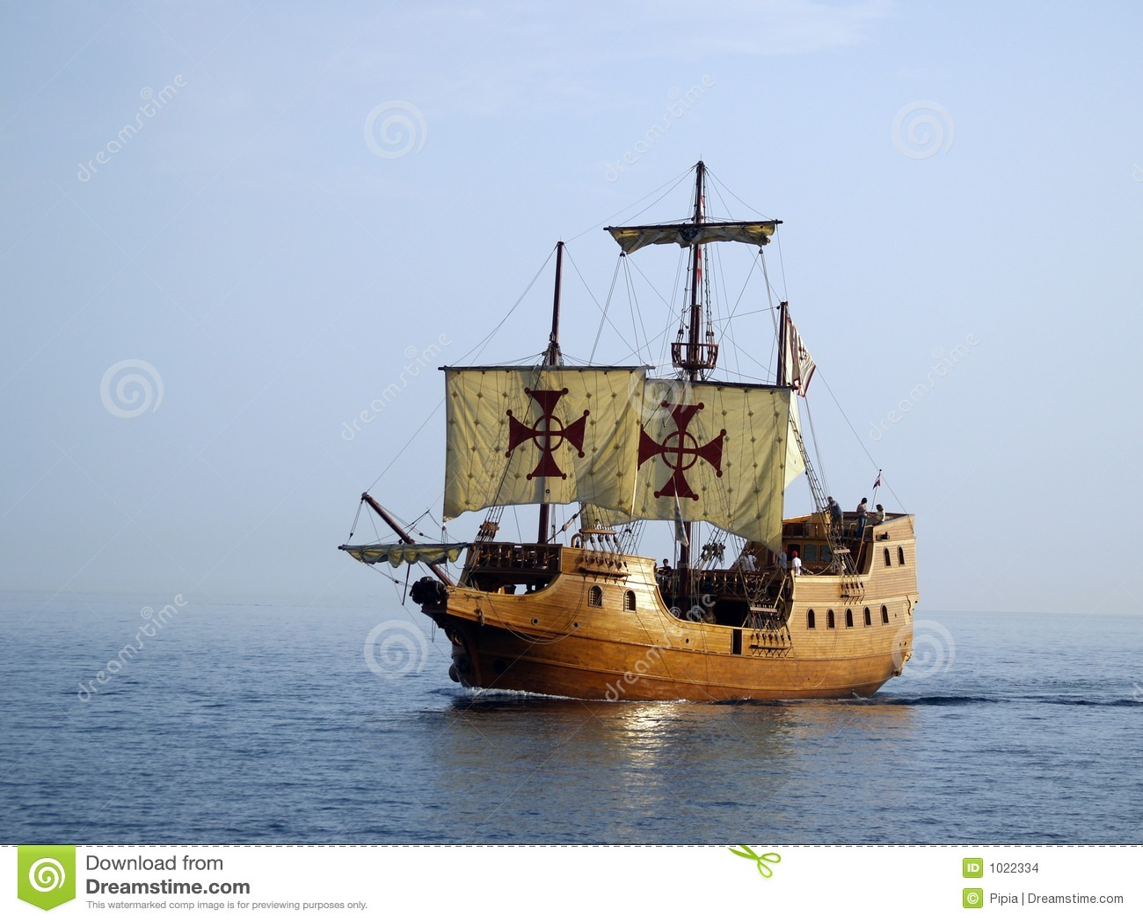Old battle ship at sea