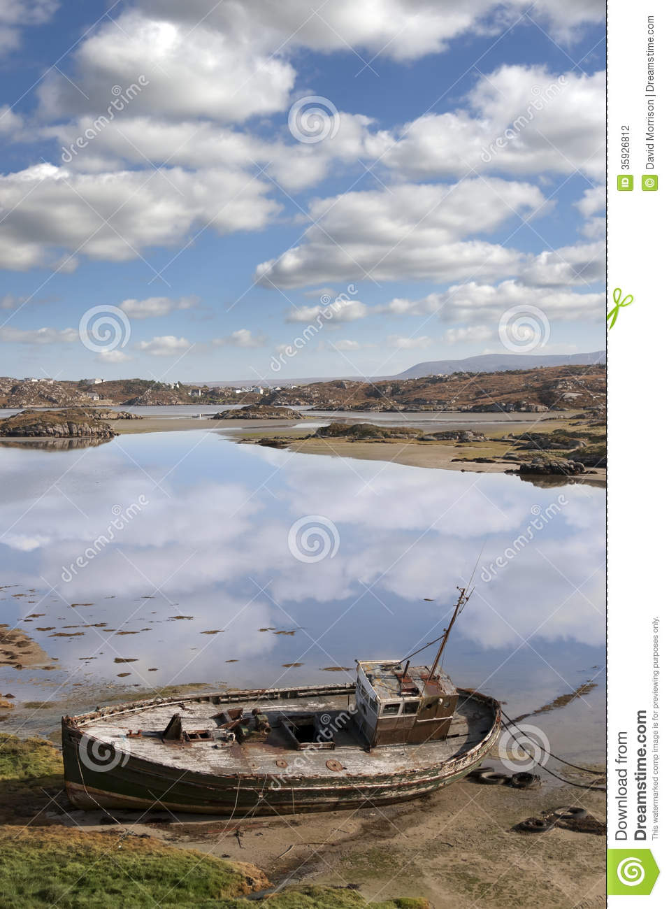 Old Beached Fishing Boat On Donegal Beach Stock Photo ...