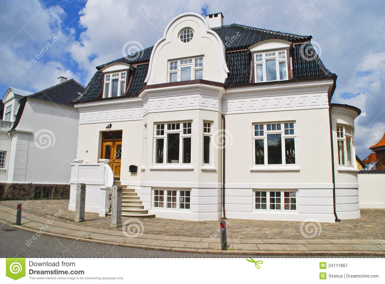 Old beautiful brick house in denmark royalty free stock for Beautiful classic houses