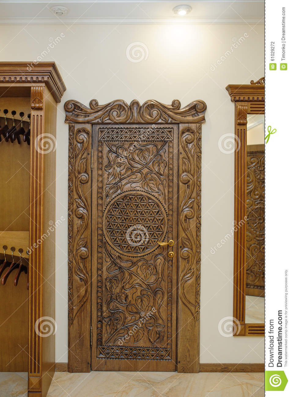 Old Beautiful Carved Wooden Doors Stock Photo Image