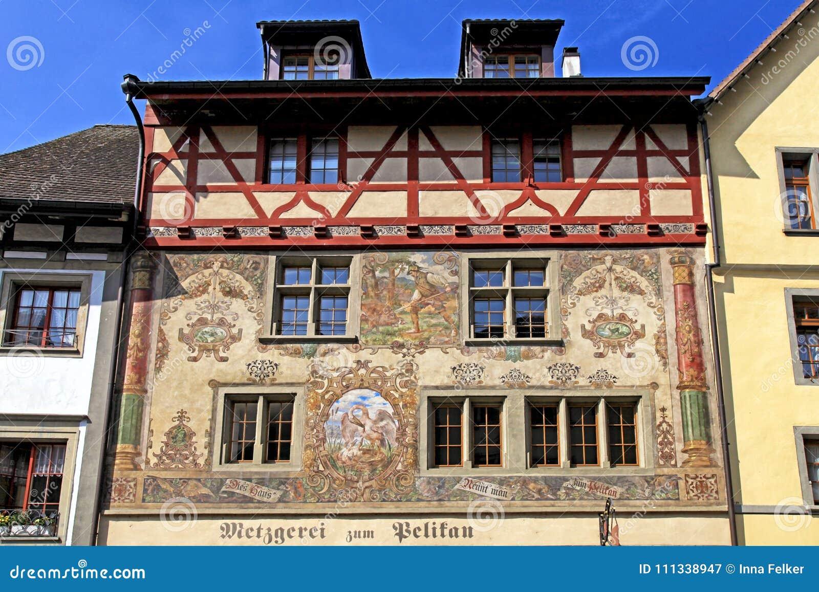Old beautiful fresco on medieval building in Stein am Rhein, Switzerland