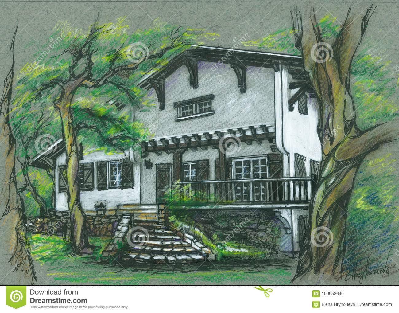 Old Beautiful House In Bayonne France Drawing Stock Illustration Illustration Of Design Drawing 100958640