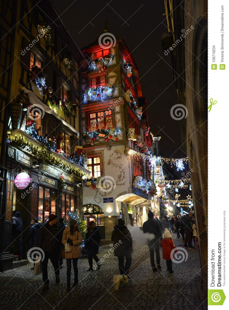 An Old And Beautiful Street With Christmas Lights Editorial Stock ...
