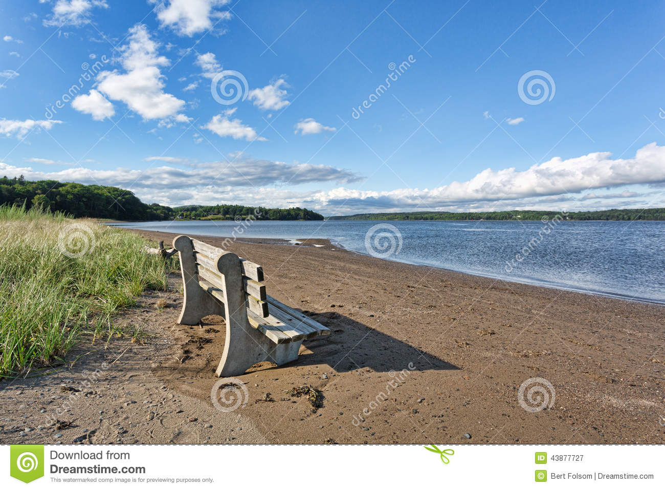 Old Bench On Beach With River In Background Stock Photo - Image ...
