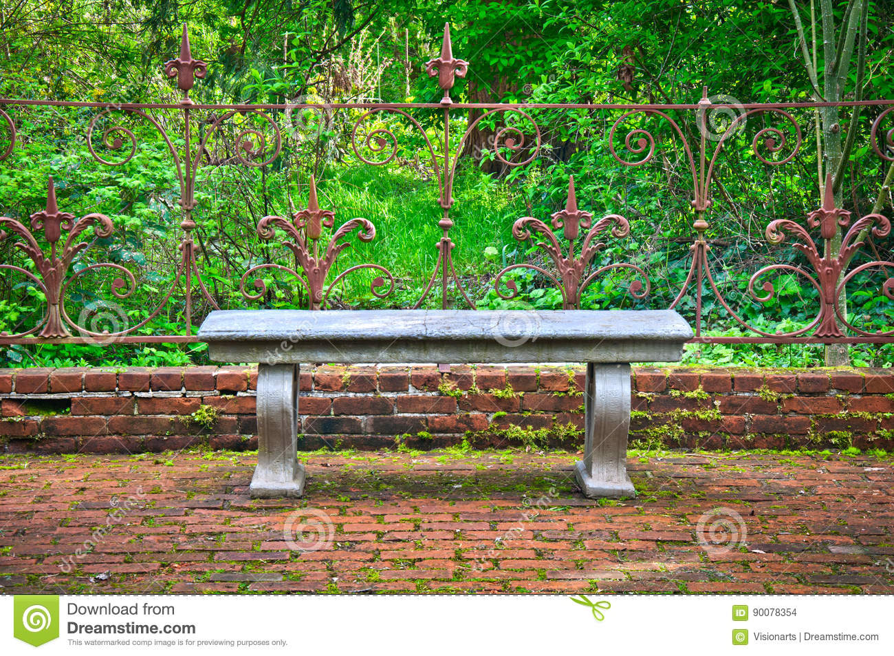 Cool Old Bench In Formal English Garden With Ornate Wrought Iron Gmtry Best Dining Table And Chair Ideas Images Gmtryco