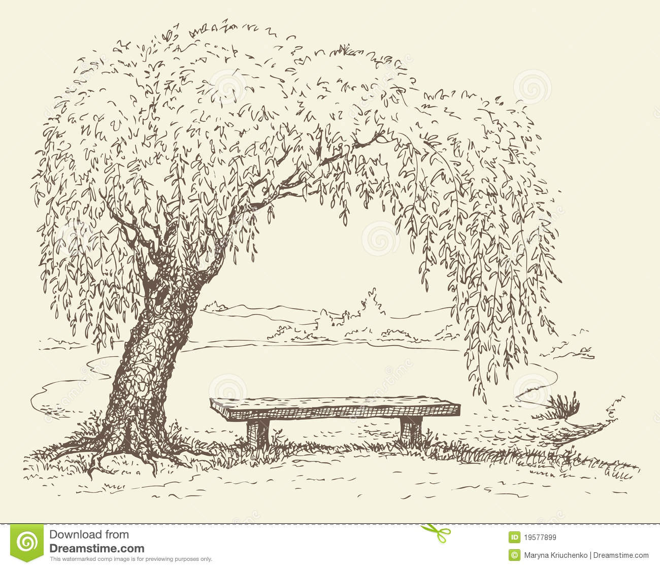 Old Bench Under A Willow Tree By The Lake Royalty Free