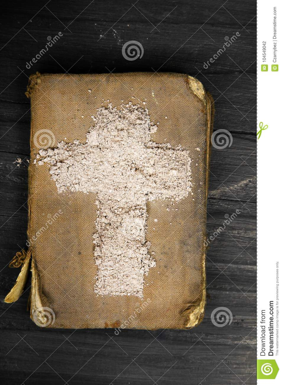 Old bible and cross of ash symbols of ash wednesday stock photo old bible and cross of ash symbols of ash wednesday buycottarizona Image collections