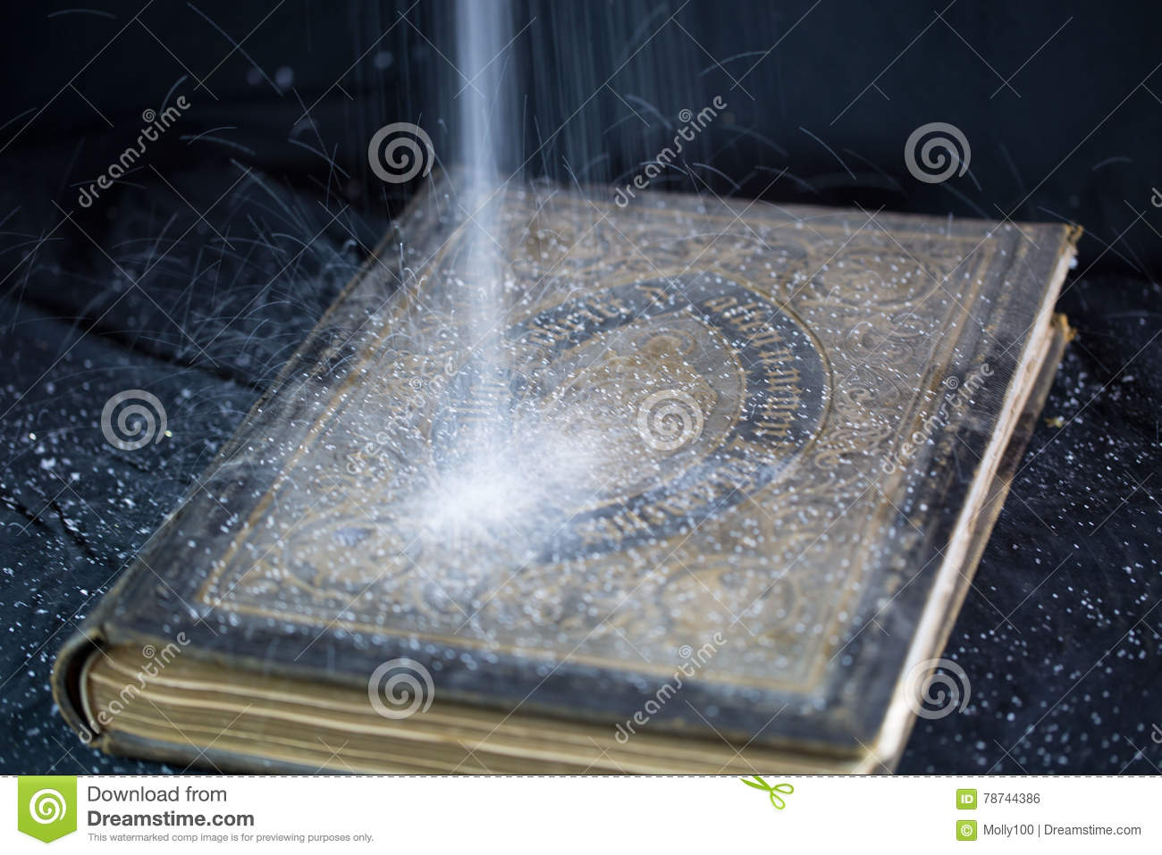 Old Bible, dust trickling from above