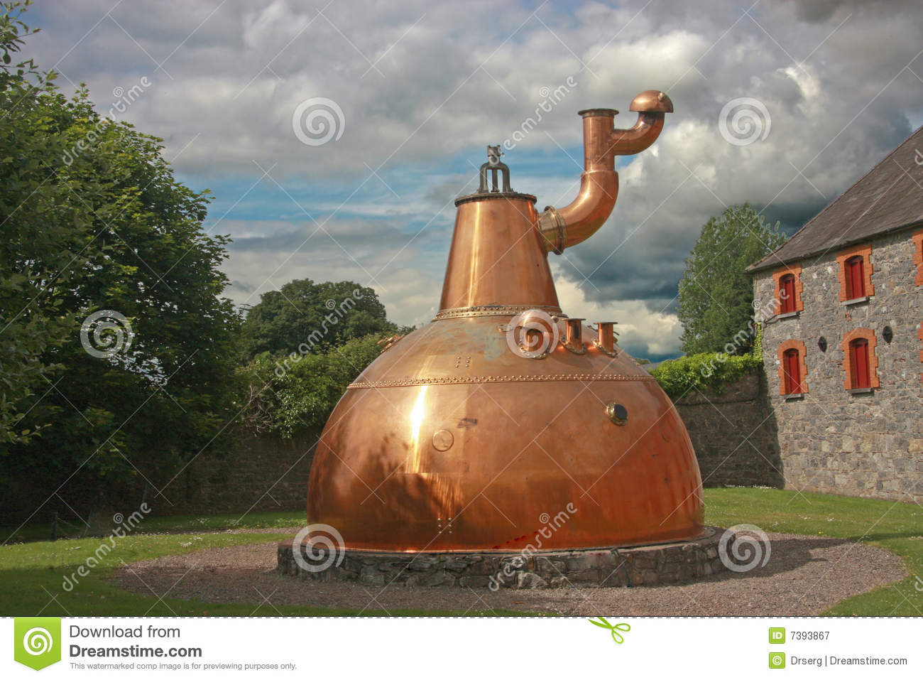 Old big copper whiskey distillery outdoor