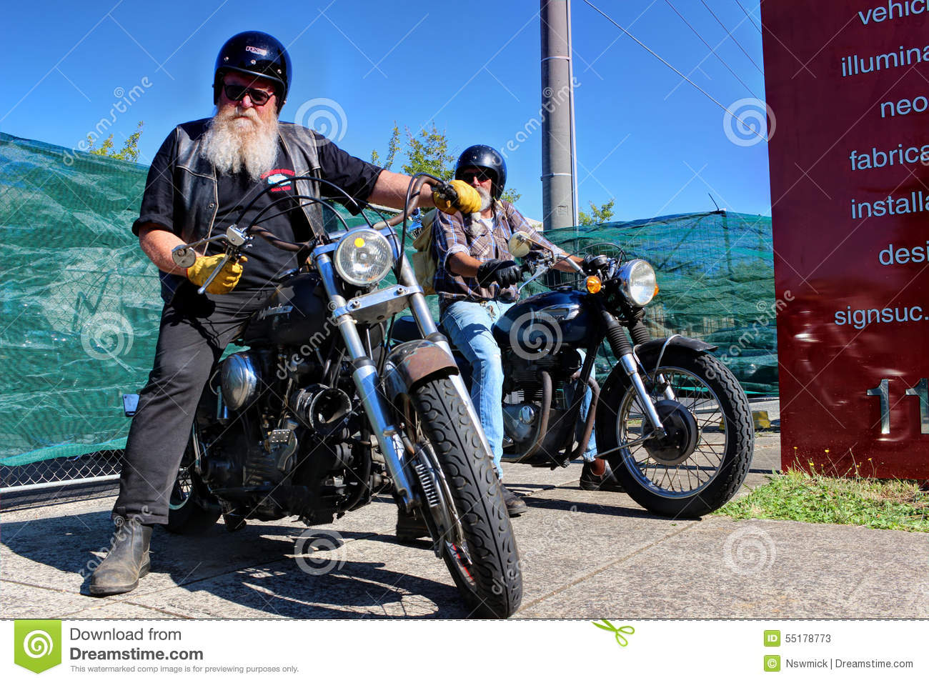 old bikers Old biker with white beard Editorial Stock Photo