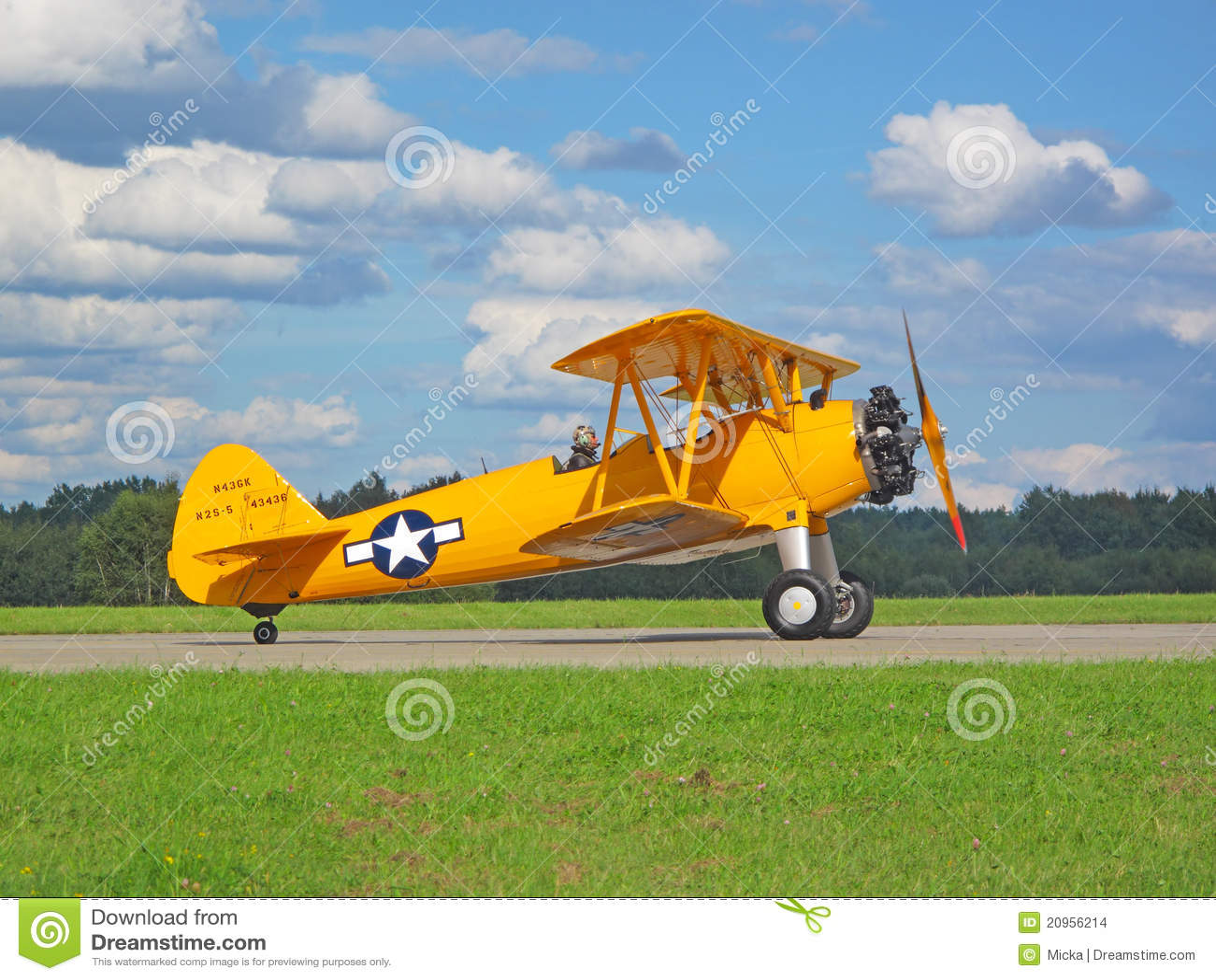 Old Biplane Boeing B 75 Stearman Editorial Stock Image
