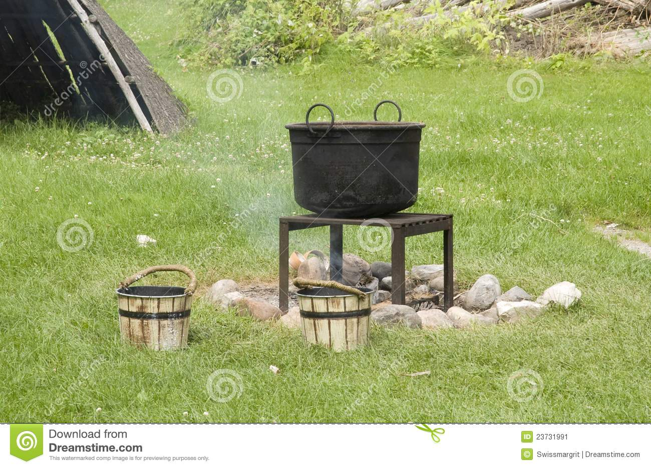 Old Black Cast Iron Kettle Over Hot Fire Stock Image Image