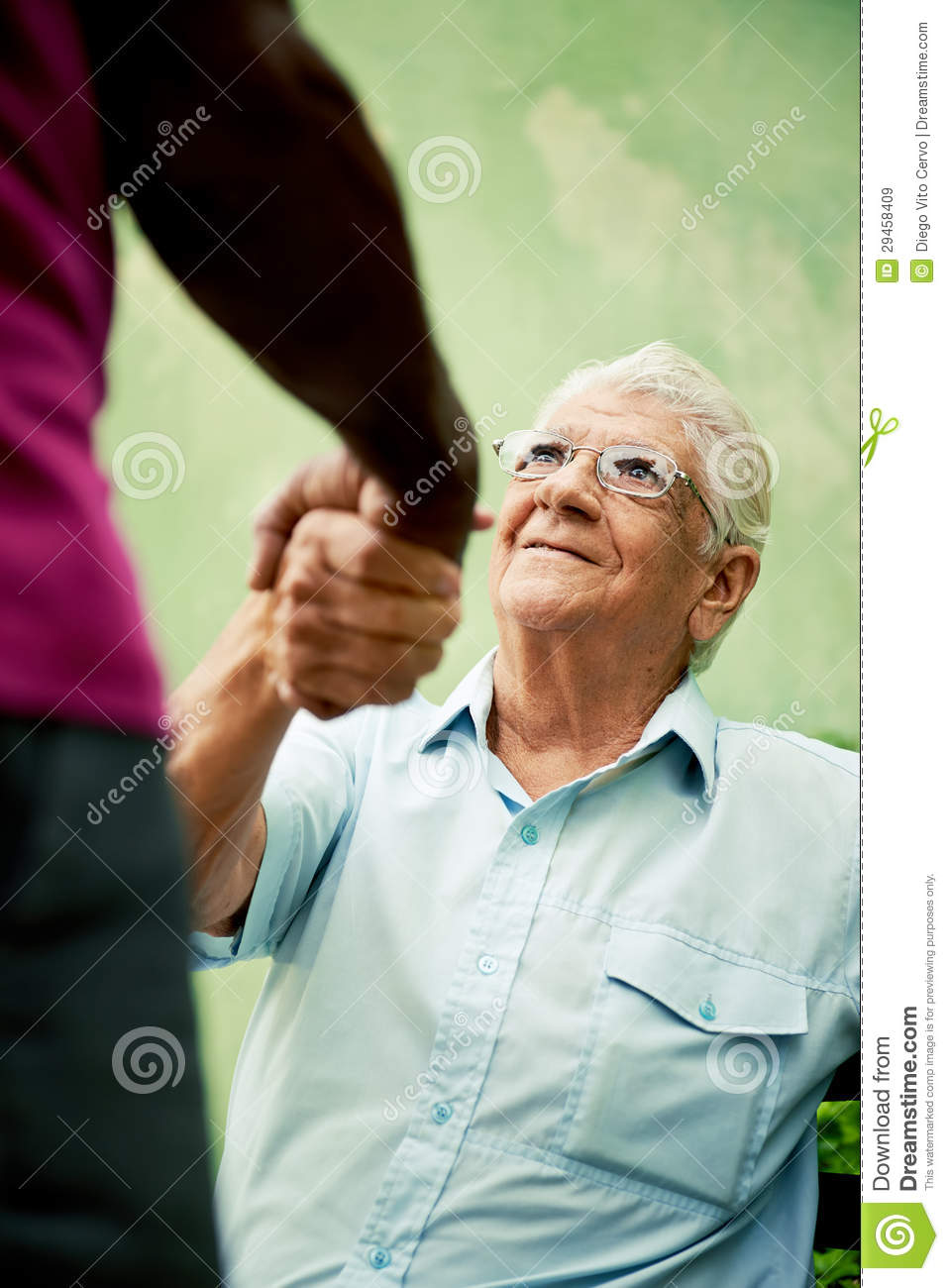 Incredible Old Black And Caucasian Men Meeting And Shaking Hands In Evergreenethics Interior Chair Design Evergreenethicsorg