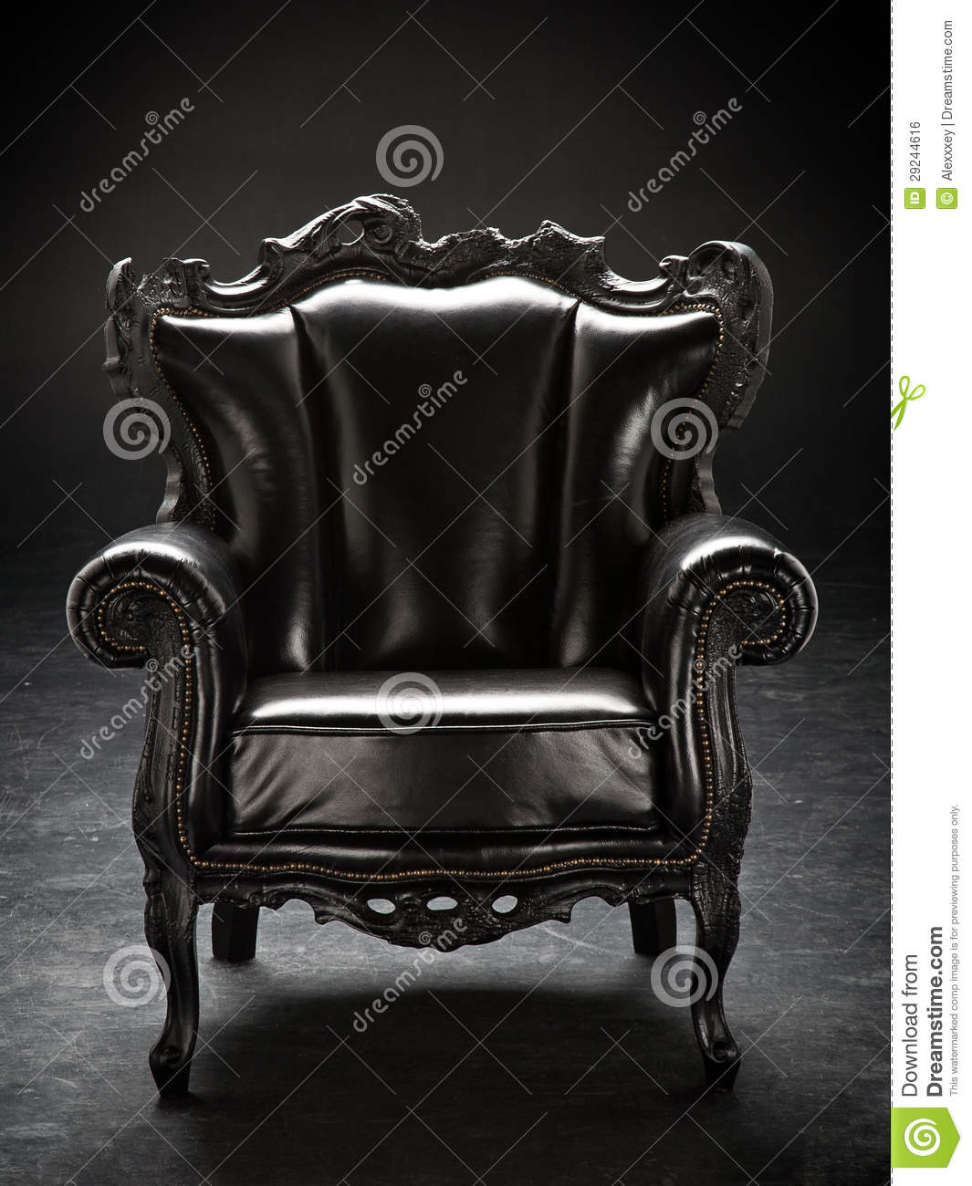 Old black chair upholstered in leather royalty free stock for Throne chair plans