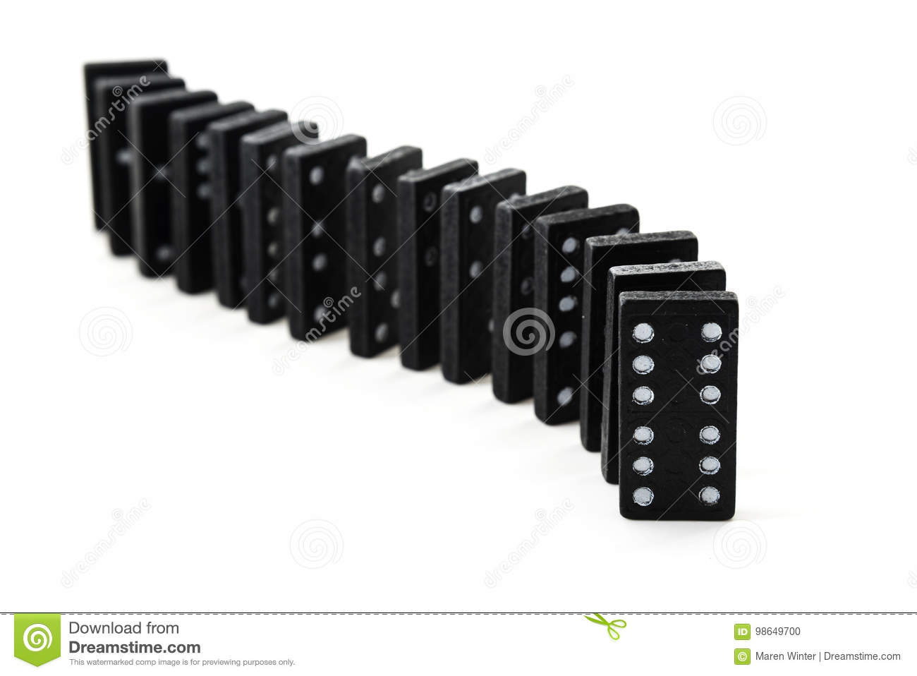 Old Black Dominos In A Row Isolated On A White Background Stock ...