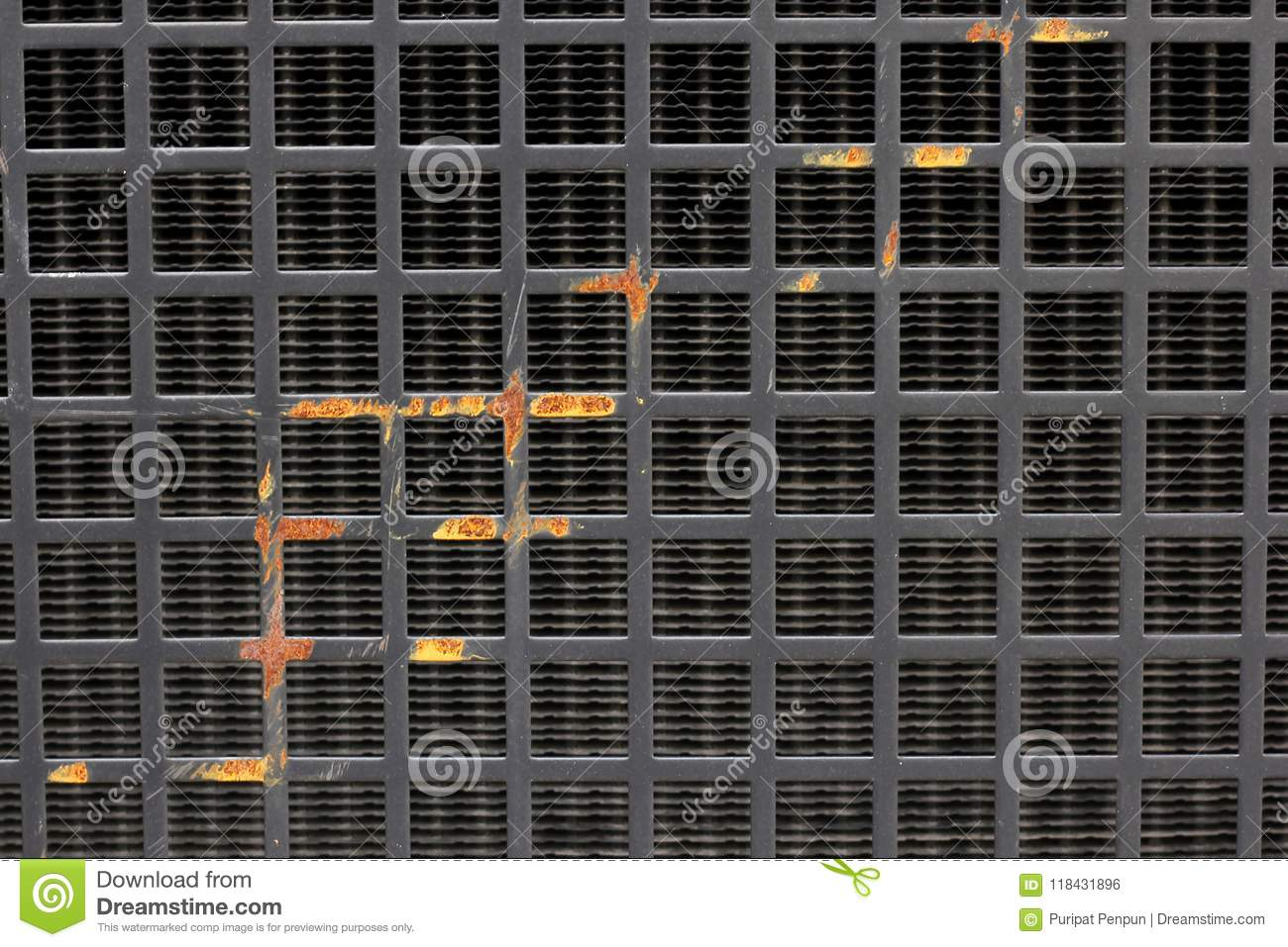 Old Black Iron Grating Plate With Rust Stock Photo - Image of