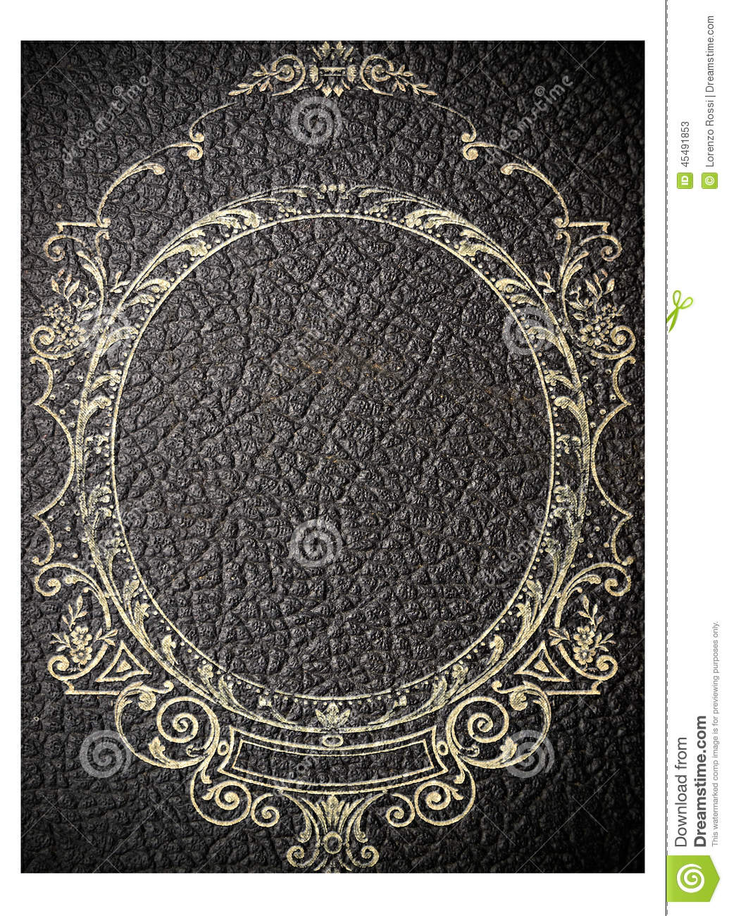 Book Cover Black Xs : Old black leather book cover stock photo image