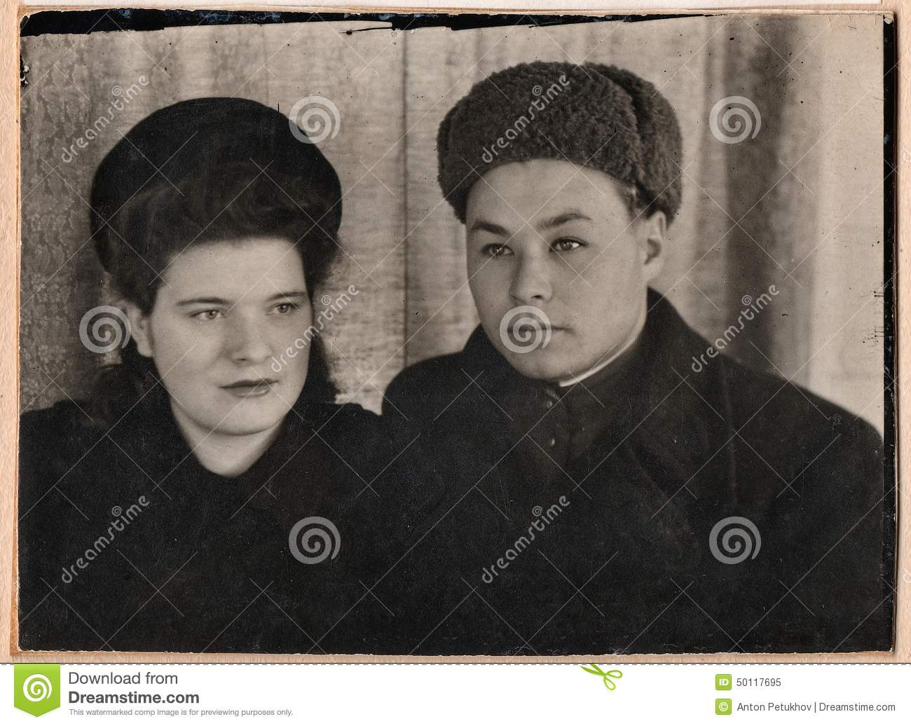 Old Black And White Photographs Of A Young Couple Stock Image