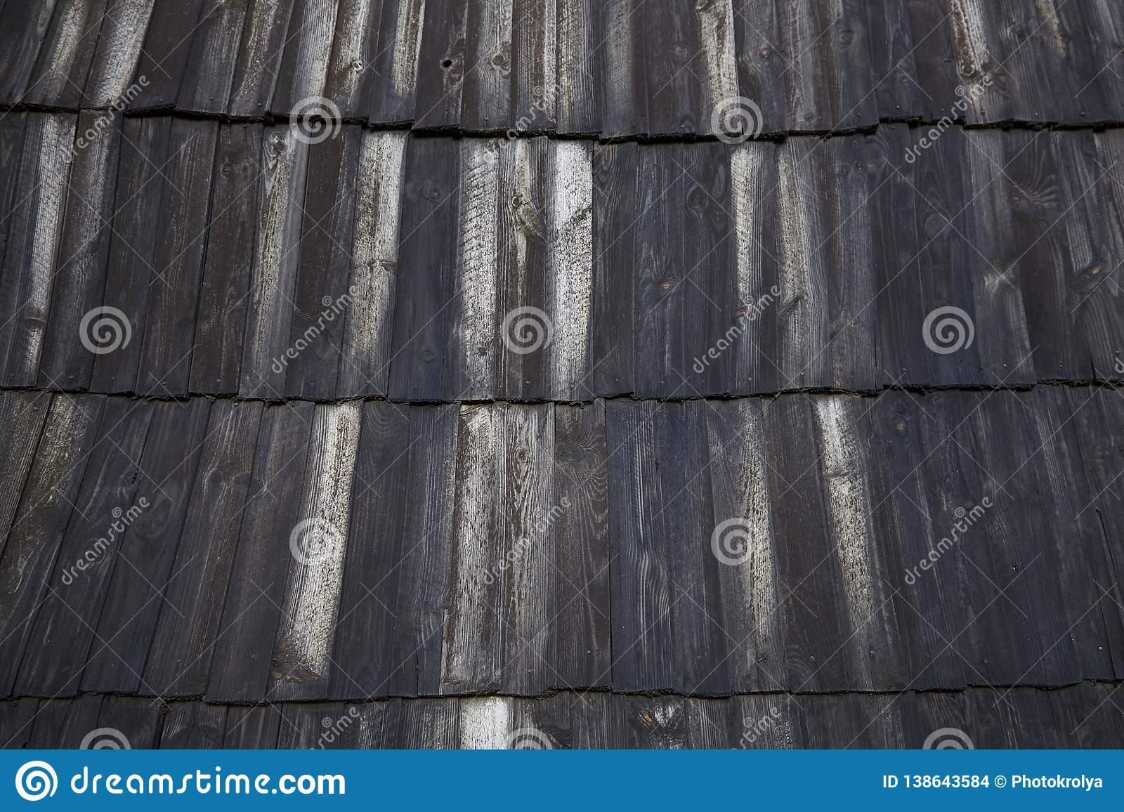 Dark Wood Pattern Background Texture Roof Scale Wooden Tiles Stock