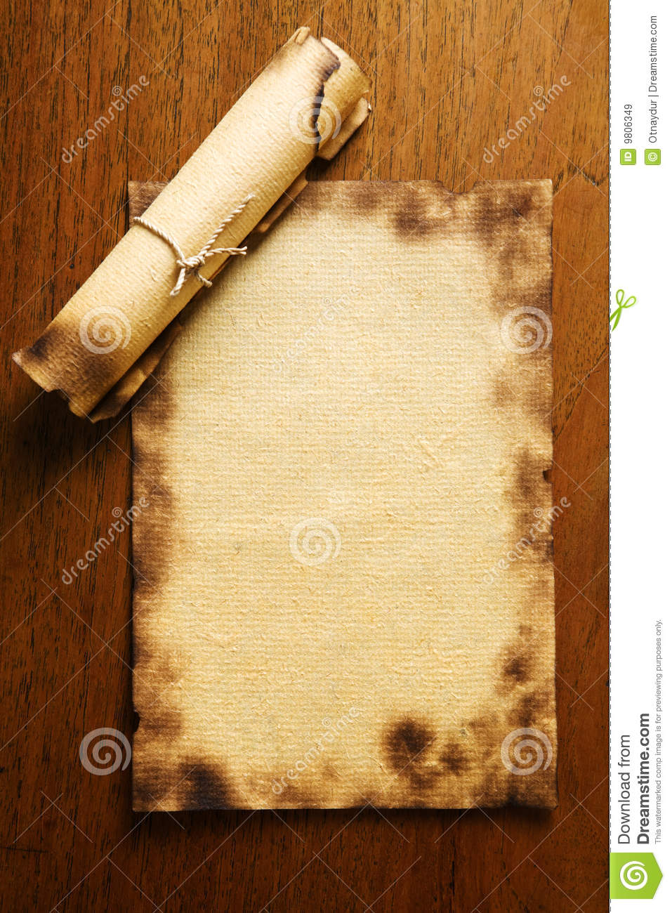 Old blank paper and scroll on wooden table royalty free for Table th no scroll