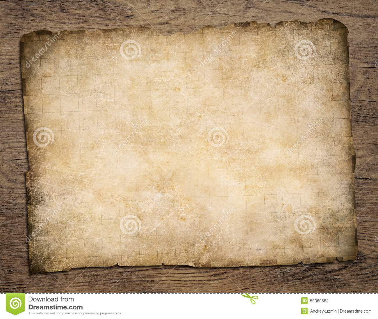 old blank parchment treasure map on wooden table stock