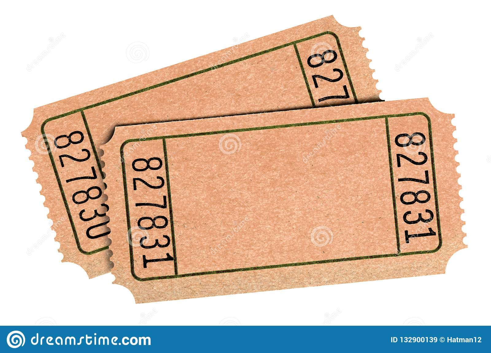 Old Blank Raffle Tickets Isolated White Background Two Pair Cutout Stock Image Image Of Raffle Flat 132900139