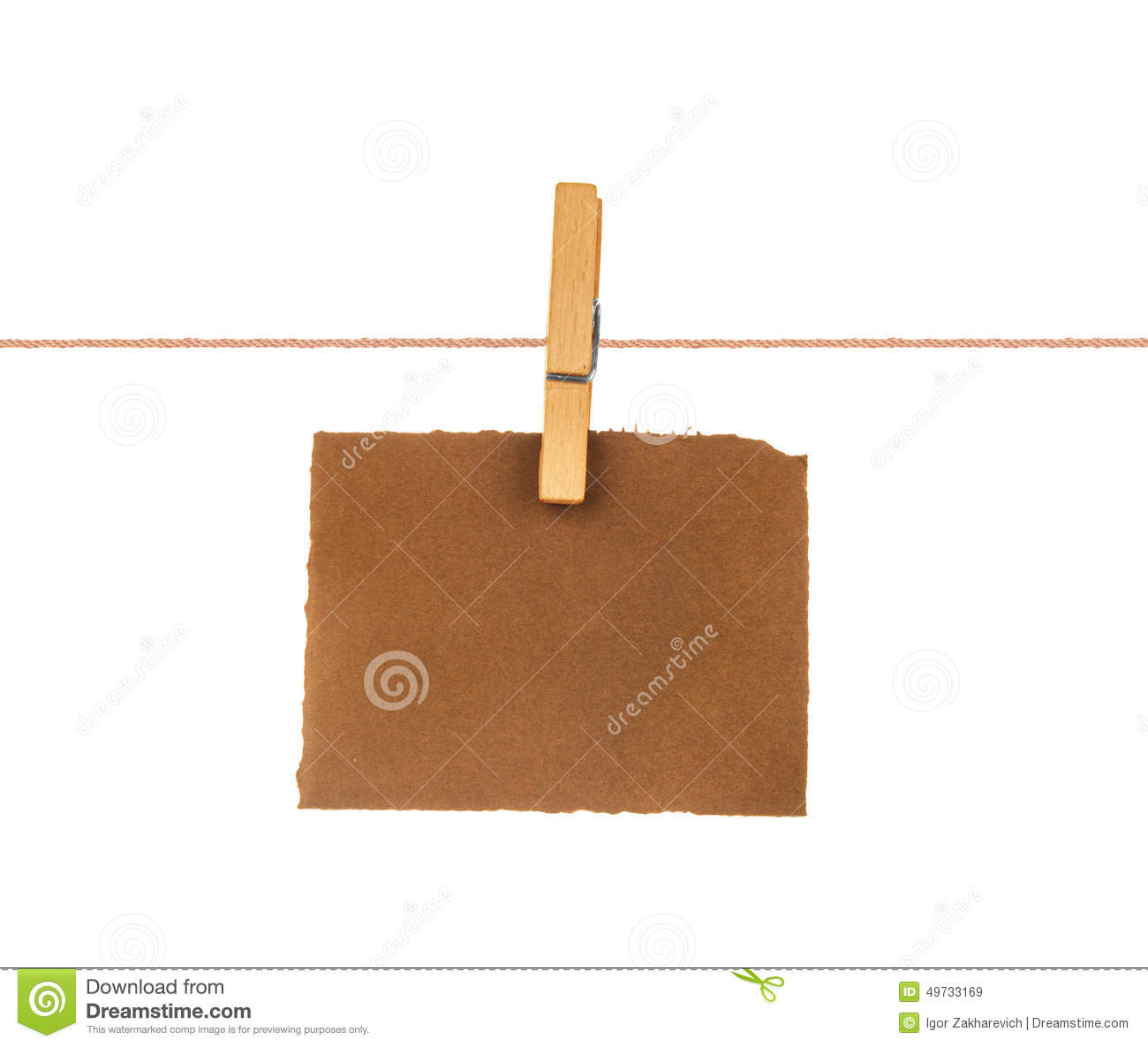 Old blank sheet of paper hanging on a rope stock photo for Clothespin photo hanger
