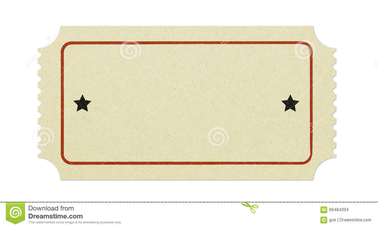 Old Blank Ticket Stock Photo - Image: 66484204