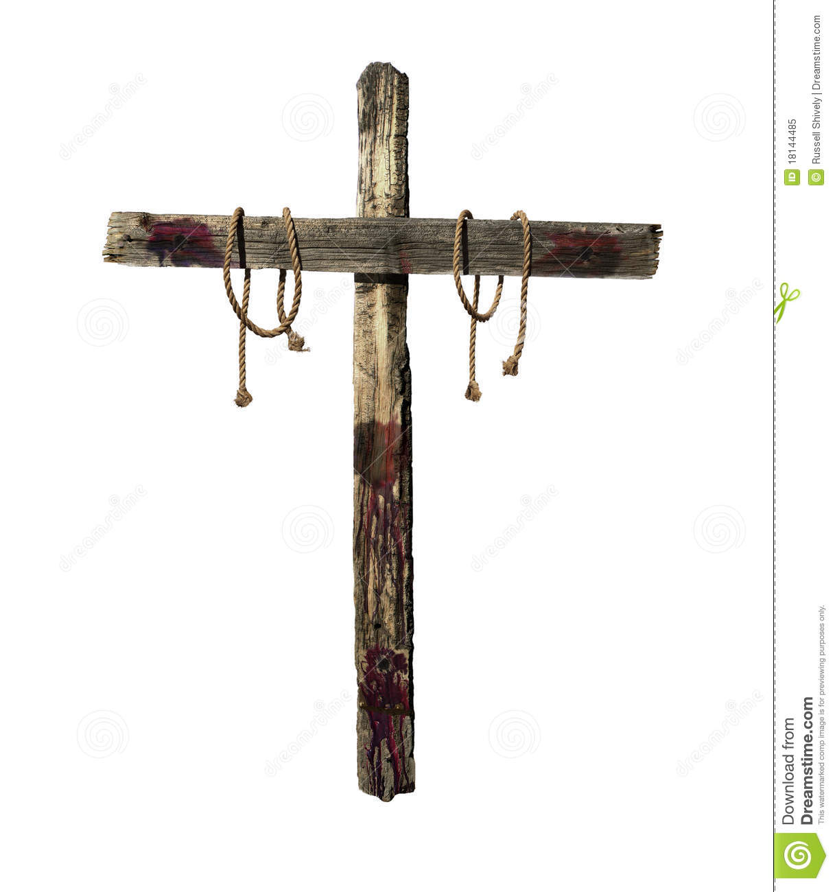 wooden cross with blood and tie ropes representative of the cross ...