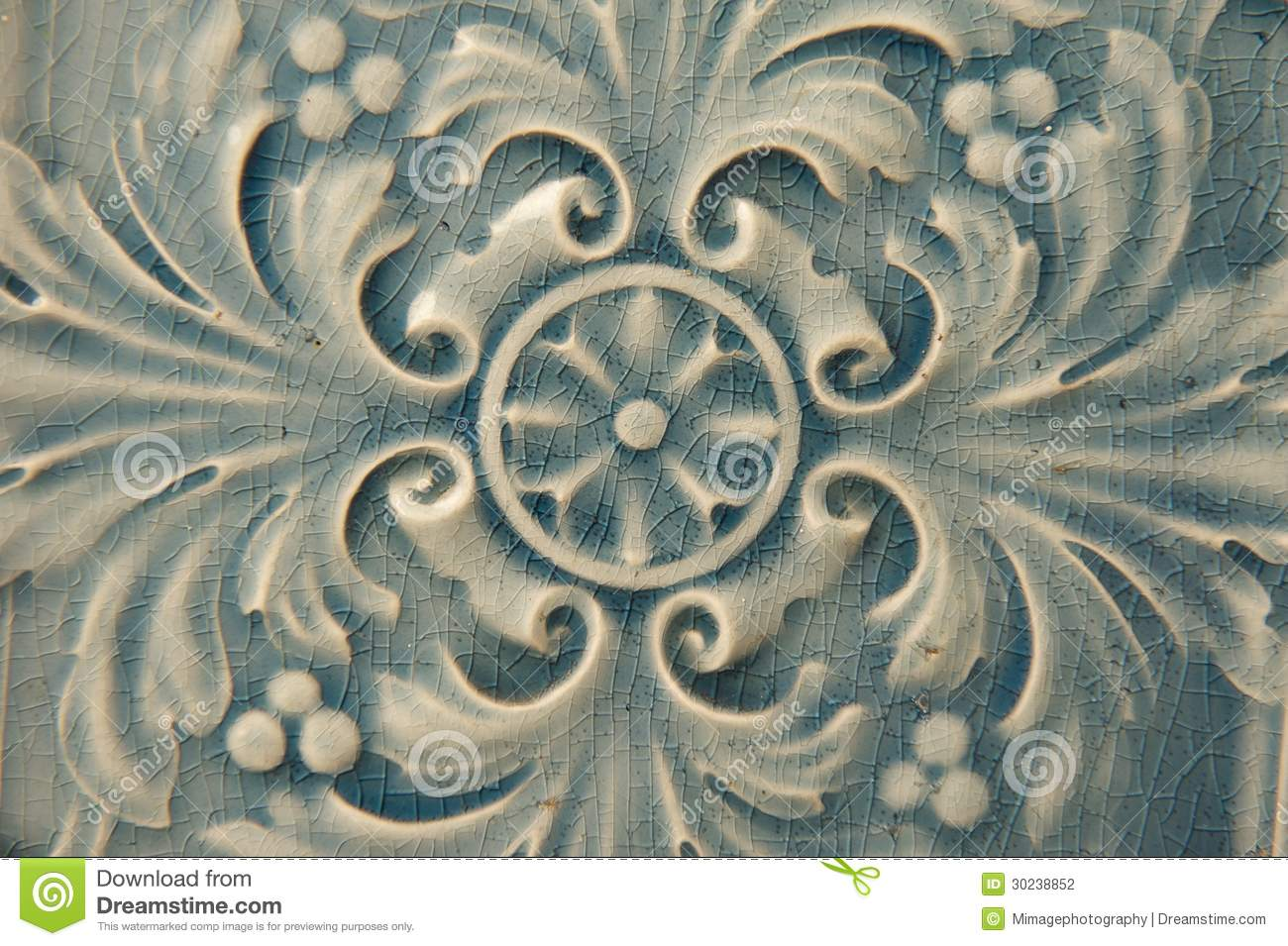 Blue Ceramic Tile With Floral Pattern Stock Photography