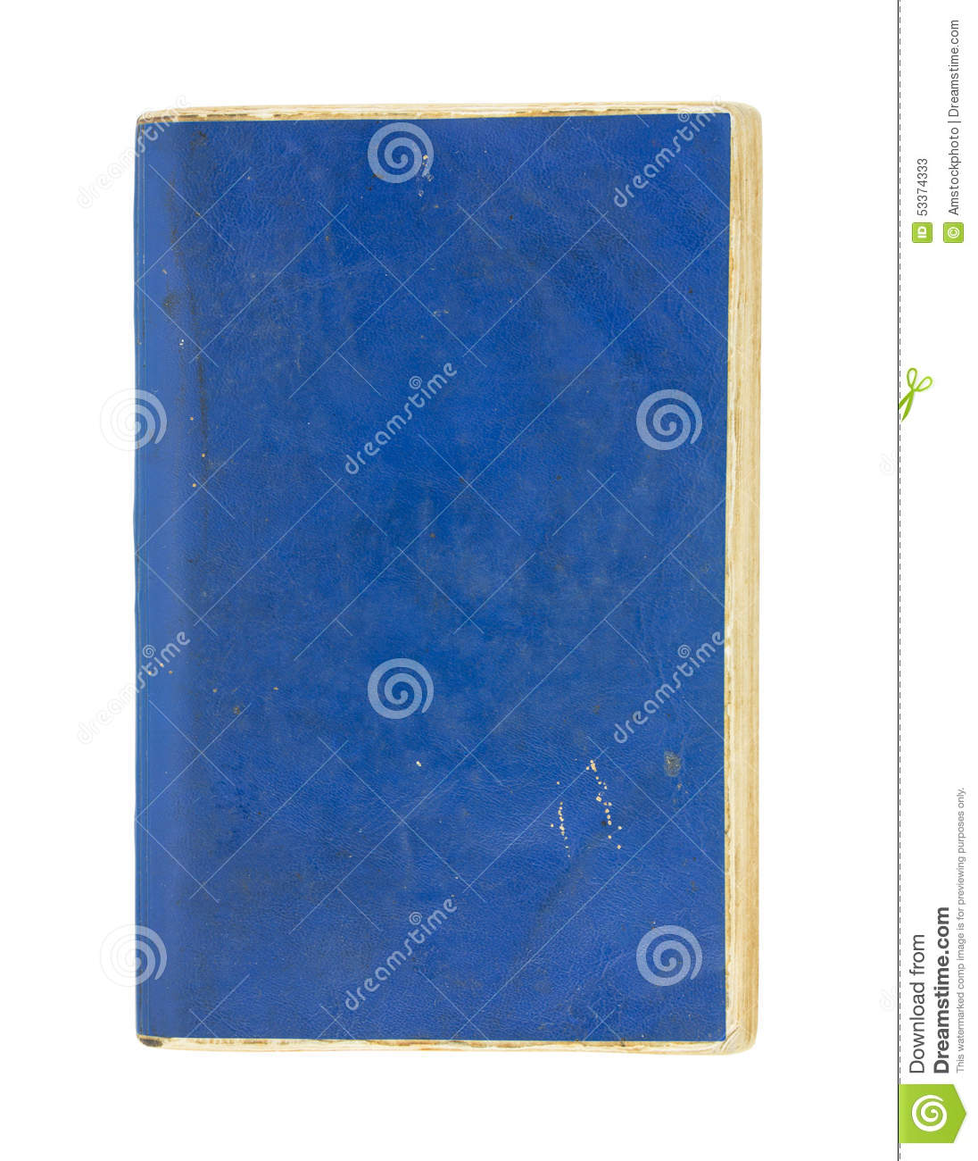 Blue Cover Cookbook : Old book isolated on white royalty free stock photo