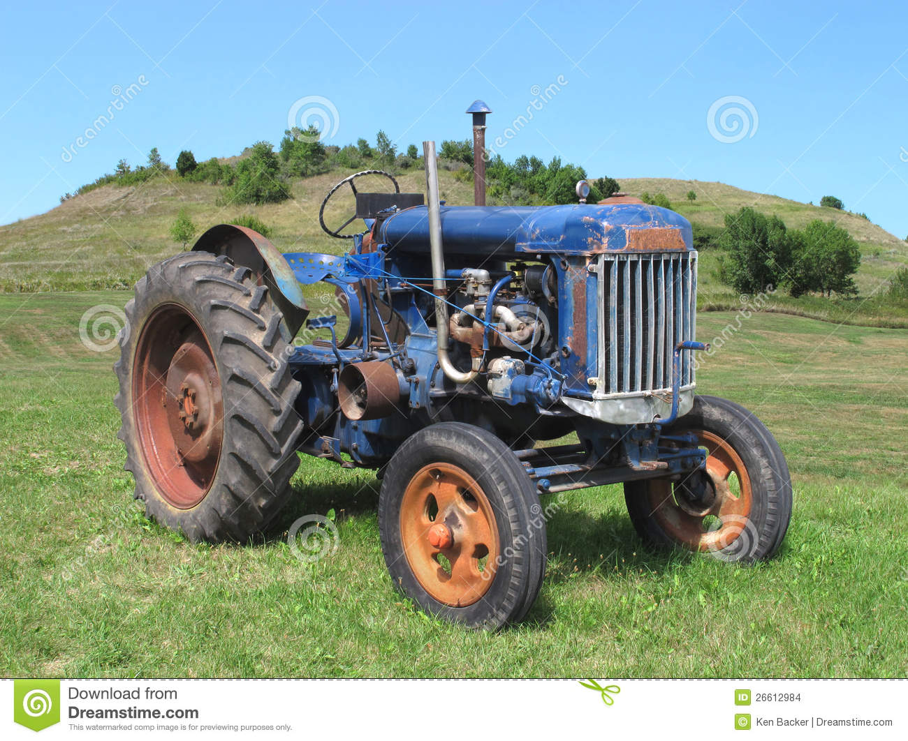 Old Tractor In Rural Field Stock Photo, Picture And Royalty Free ...