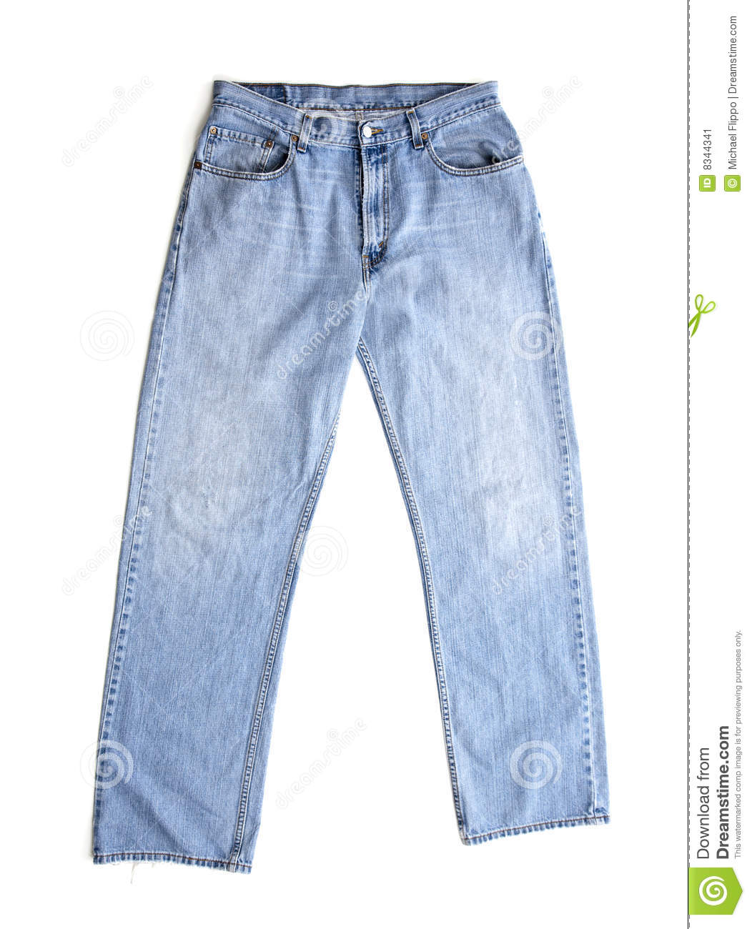 Old Blue Jeans On White Stock Image - Image 8344341