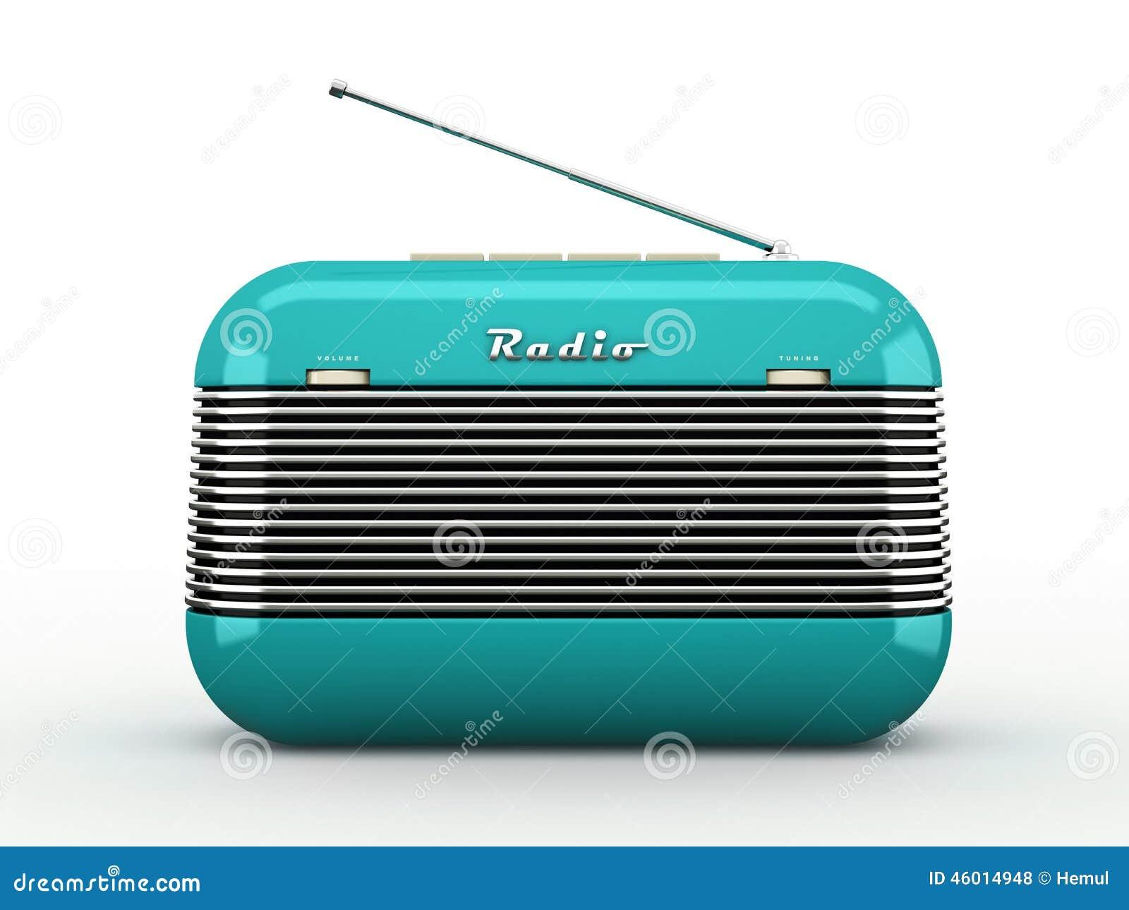 Old Blue Vintage Retro Style Radio Receiver On White Ba ...