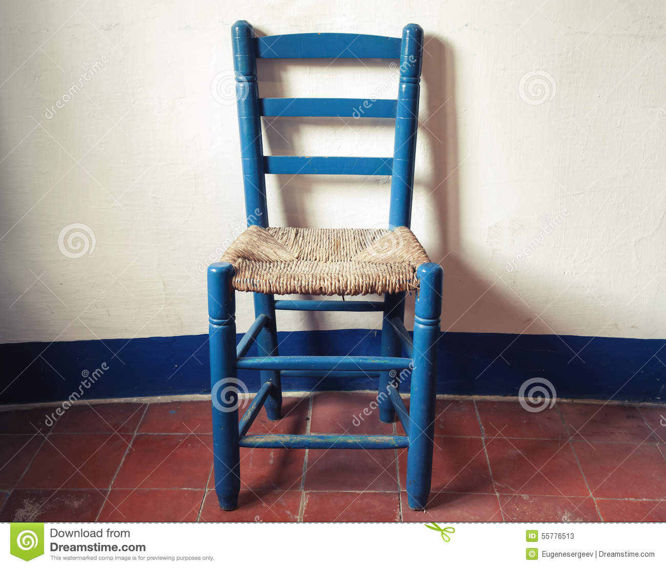Fine Old Blue Wooden Chair With Wicker Seat Stock Image Image Pabps2019 Chair Design Images Pabps2019Com
