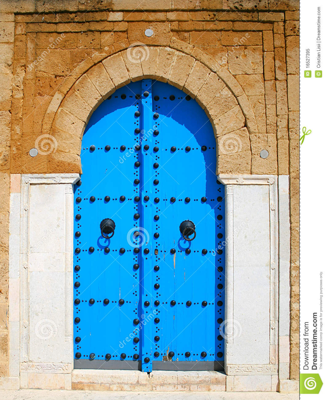 Old Blue Wooden Door In Tunisian Arabic Style Stock Image