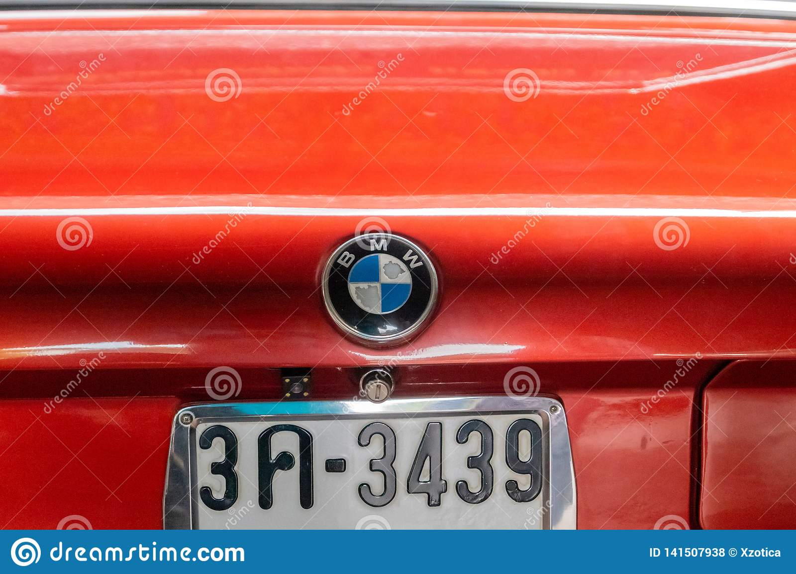 Old Bmw Logo With Old License Plate Of Old Red Bmw 7 Series Parked In Garage In Bangok Thailand February 10 2019 Editorial Stock Photo Image Of Company Show 141507938