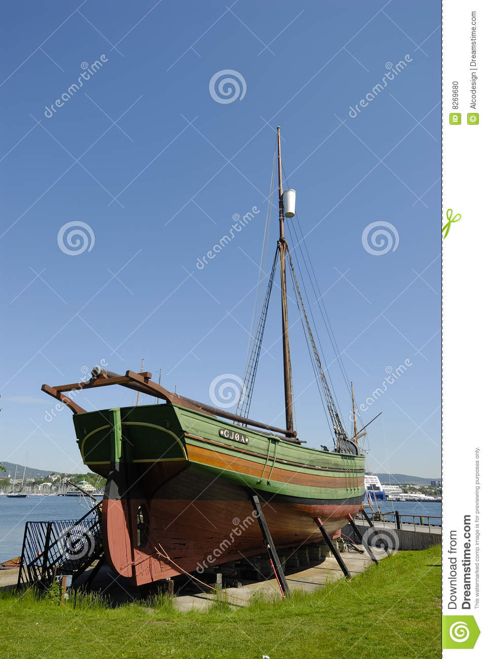 Old boat in dry dock stock photo. Image of wooden, water - 8269680