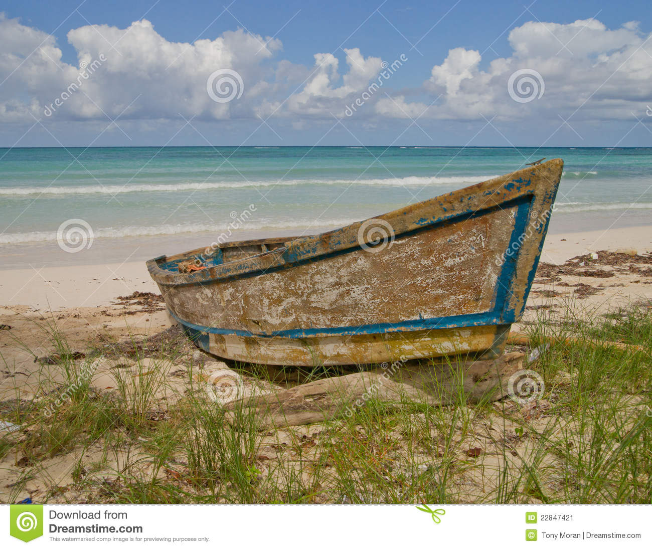Old Fishing Boats On Beach: Old Boat On Jamaican Beach Stock Image