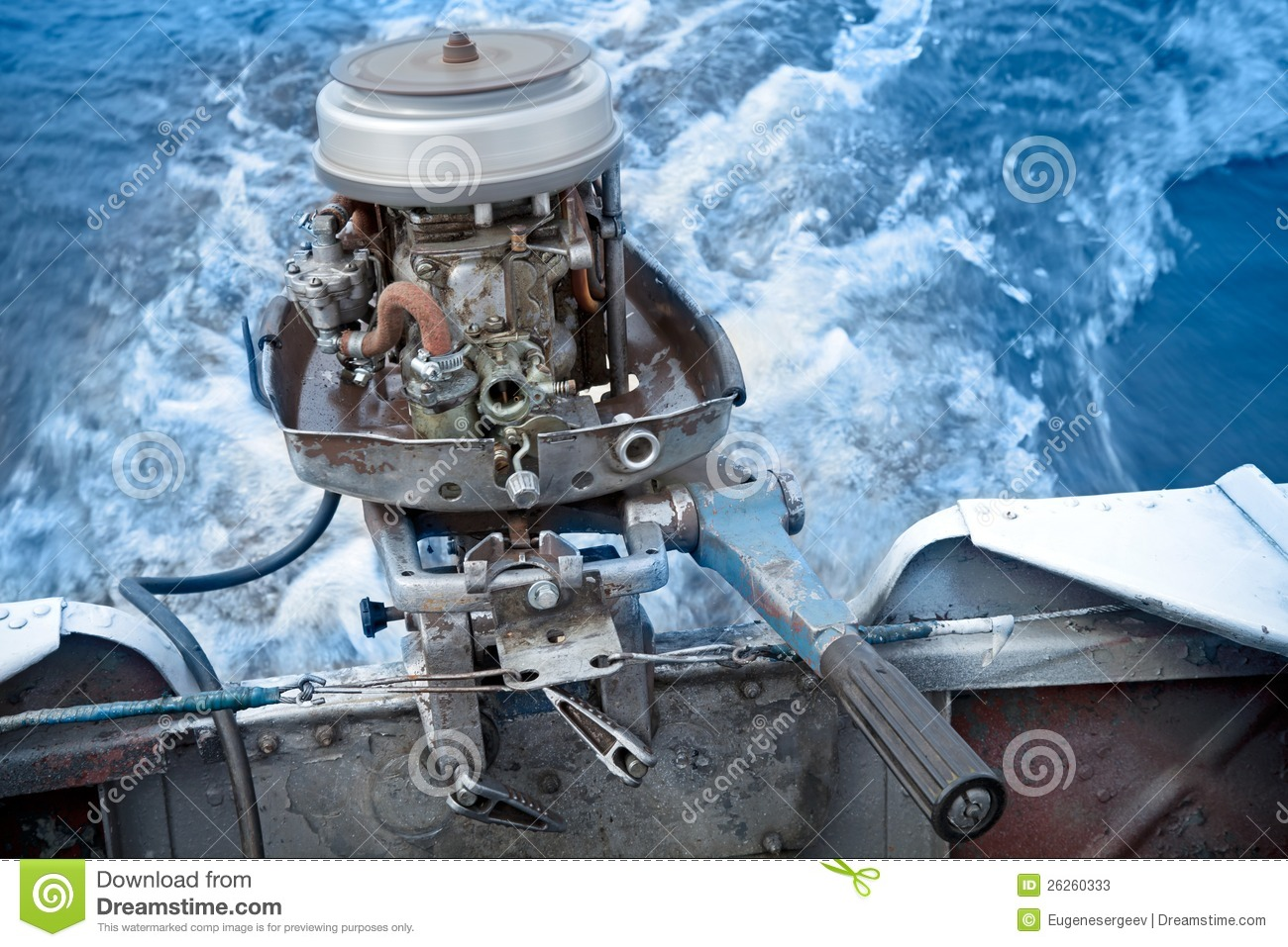 Old boat outboard motor works without cover stock photos for How does an outboard motor work