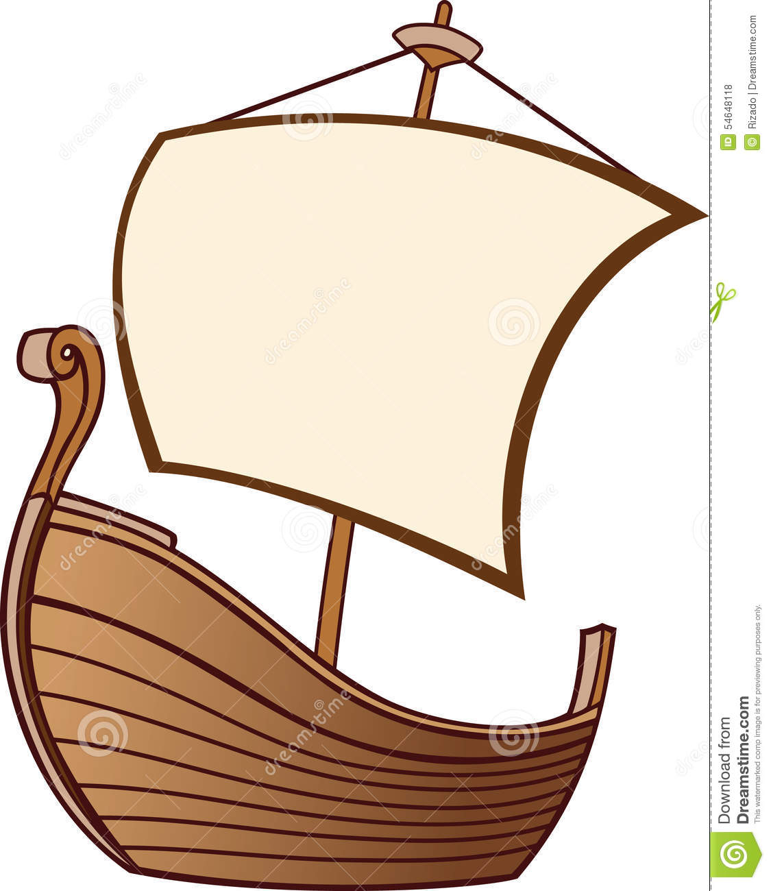 Old Boat with a Sail stock vector. Illustration of place ...