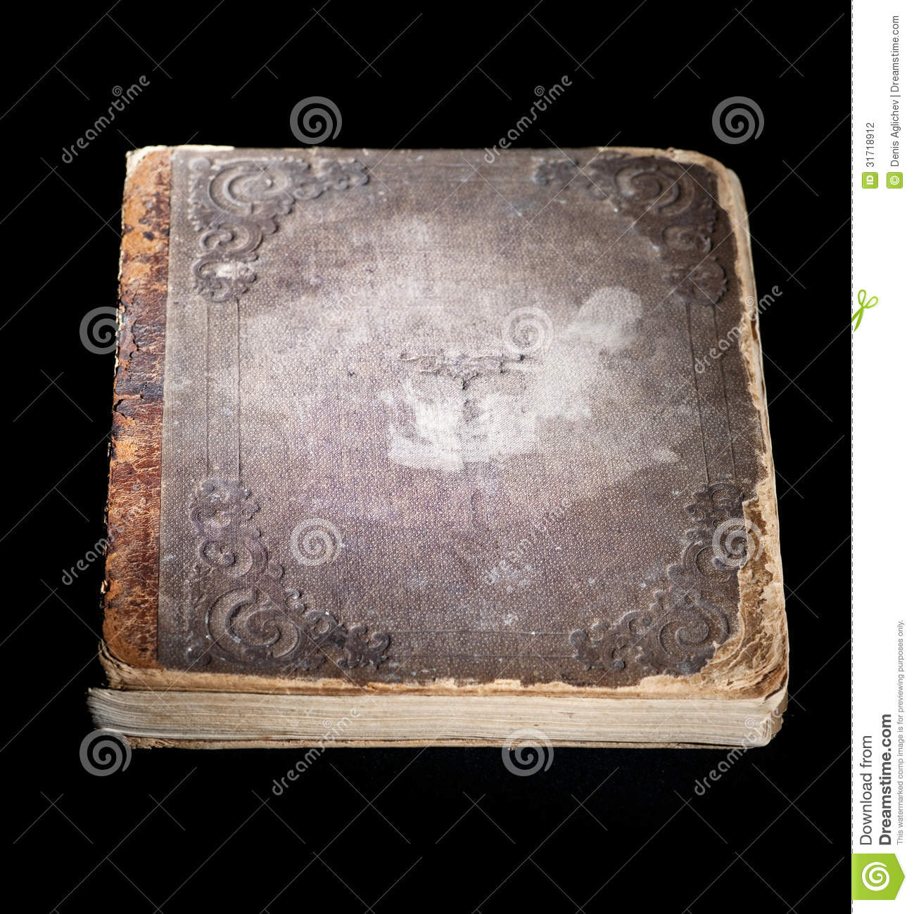 Old Black Book Cover ~ Old book stock photography image