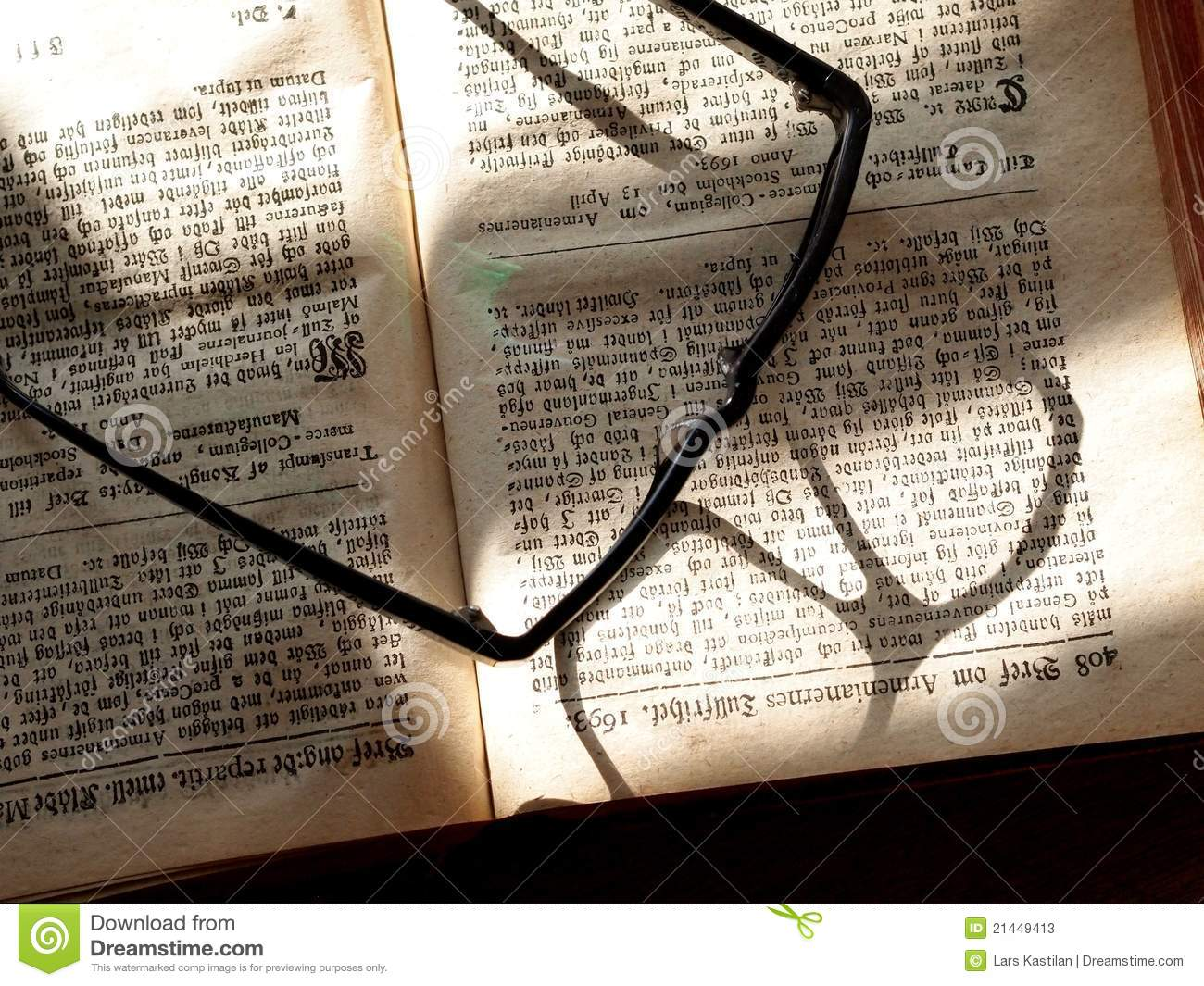 Old Book and Eyeglasses stock image. Image of read, study ...